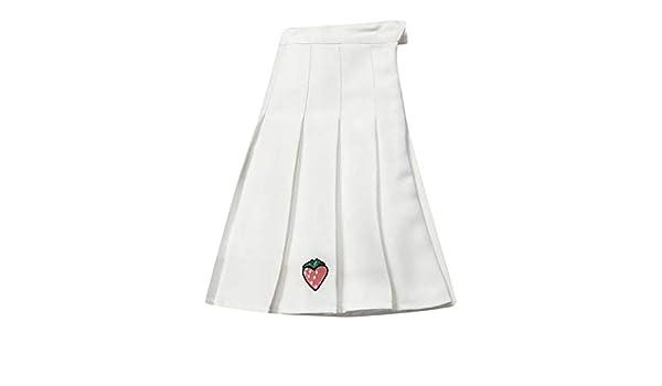 Falda Plisada de Fresa Salvaje Casual para Mujer Falda Mini Blanco ...