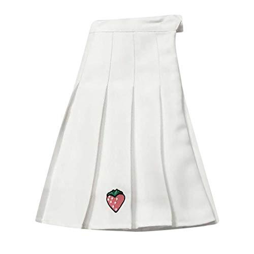 - LISTHA Shoole Pleated Skirt Women Girls Casual Wild Strawberry Cute Mini Skirt