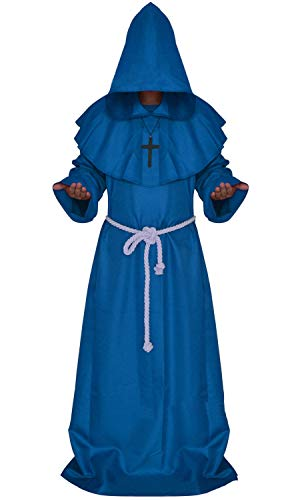 Costume for The Medieval Monks Priest Robe Hooded Cosplay Various Styles (Small, Blue) ()