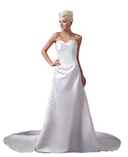 Vogue007 Womens Sweetheart Silk Pongee Wedding Dress with Floral, ColorCards, 16 by Unknown