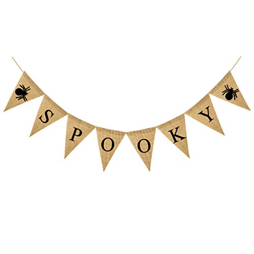 Halloween Ghost Bunting (6.6ft Spooky Bunting Banner Burlap, Halloween Party Spider Pennant Decoration,Ghost Festival Decorations Supplies(SPOOKY)