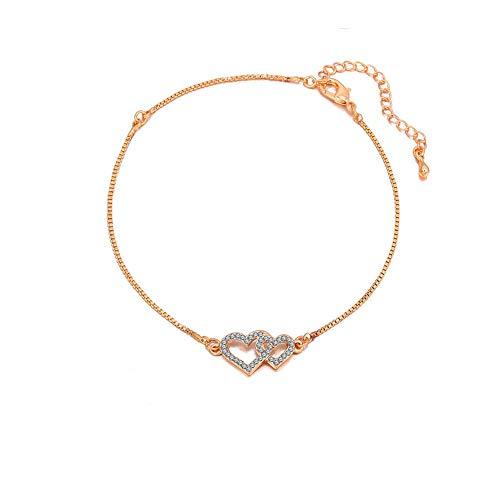 SIBYL Cute Beach Ankle Bracelets for Women Teen Girls Rose Gold Anklets (Double ()