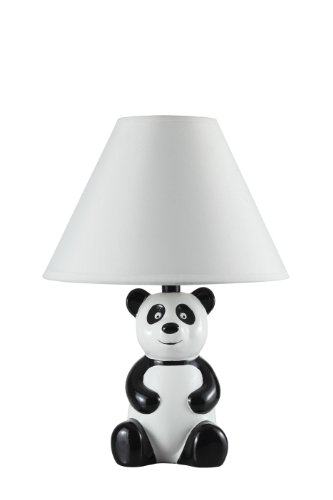14'' White and Black Novelty Panda Table/ Desk Lamp with White Shade - 628WH by SH Lighting