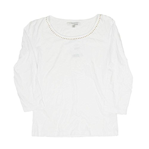 Ellen Tracy Company Ladies Small 3/4 Sleeve Knit Top with Gold Beads White