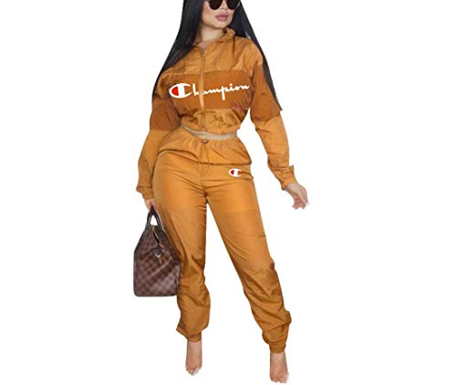 Womens 2 Piece Outfits Tracksuit Set Casual Letter Print Blazer Crop Sweatshirts and Skinny Long Pants Top and Pants Romper (Medium, Khaki)
