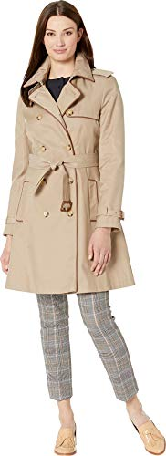 LAUREN RALPH LAUREN Women's Double Trench with Faux Leather Trim Sand X-Small