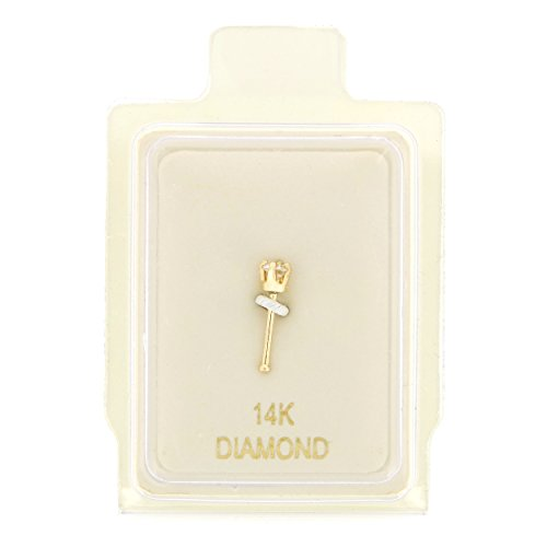 14K Yellow Gold 1.3mm .01 cttw Diamond Nose Ring Straight Stud 22G (Diamond Stud Nose Rings)