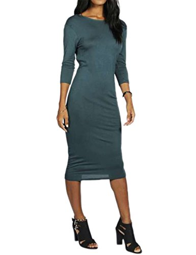Pencil Knitting Three Women's Dress Cross Solid Sleeve Quarter Backless DSstyles Green wqf88