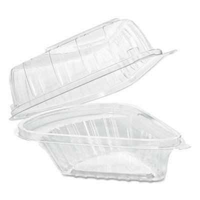 Dart C54HT1 Pie Wedge Clear Hinged Container, 5.6 X 6.1 in (Case of 250) - Lab Pie
