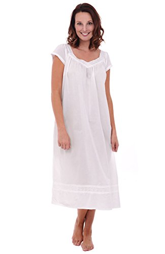 (Alexander Del Rossa Womens Adele Cotton Nightgown, Long Victorian Sleepwear, XX-Large White (A0528WHT2X))