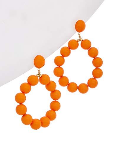 Kenneth Lane Resin Earrings - Kenneth Jay Lane Women's Balls Hoop Earrings, Coral, One Size
