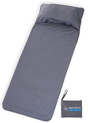 Tough Outdoors XL Sleeping Bag Liner - Travel Sheet & Sleep Sack for Adults - Lightweight & Ideal for Camping, Traveling, Hotels & Backpacking - Smooth & Breathable