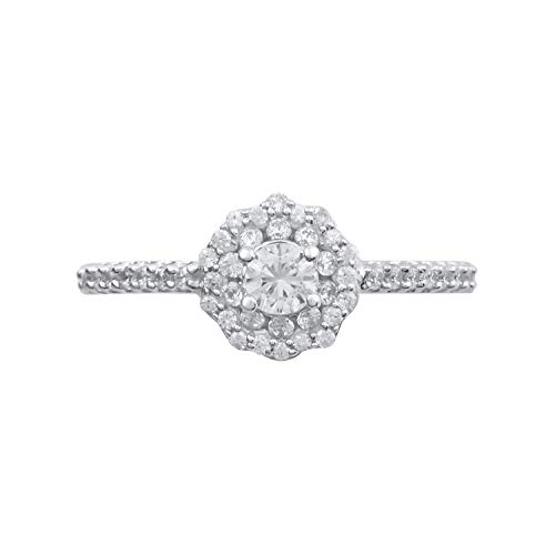 10k White Gold Diamond Double Halo Flower with Diamond Accented Band Ring (1/2 cttw, H-I Color, I2-I3 Clarity), Size 7