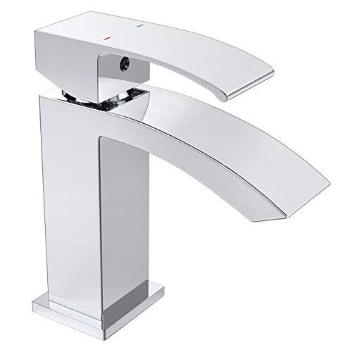 (Roylvan Bathroom Faucet, Single Handle Bathroom Basin Sink Faucet One Hole Tall Mixer Tap with Curved Surface for Bathroom - Chrome)