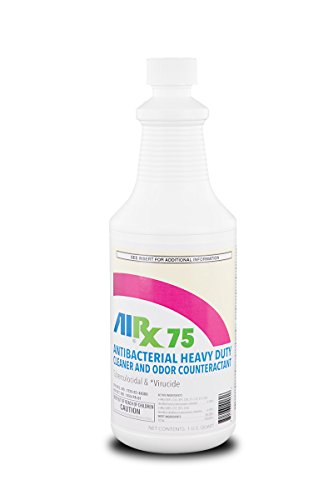 Airx RX 75 Antibacterial Heavy Duty Spray and Wipe Disinfectant Cleaner and Odor Counteractant, 1qt Bottle (Case of 12) by Airx Labs