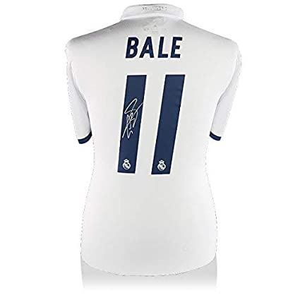 fb9f2c03ad3 Image Unavailable. Image not available for. Color: Gareth Bale Back Signed  Real Madrid 2016-17 Home Shirt