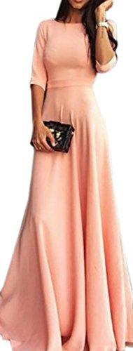 Sleeve 4 Maxi Swing Domple Crewneck Womens Dresses Wedding Party 3 Pink SqxH4t