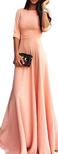 Womens Maxi Sleeve Wedding Dresses 4 3 Domple Pink Swing Party Crewneck qxdT4BqUn