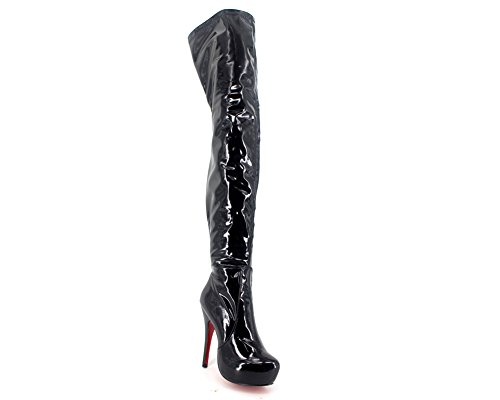 Wonderheel stiletto sexy over knee plateforme bottes verni noir cuissarde boots femme