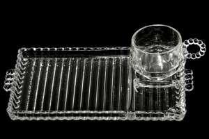 Vintage Depression Glass Hazel Atlas Snack Sip & Smoke Set From Orchard Crystal (Hazel Atlas Depression Glass)