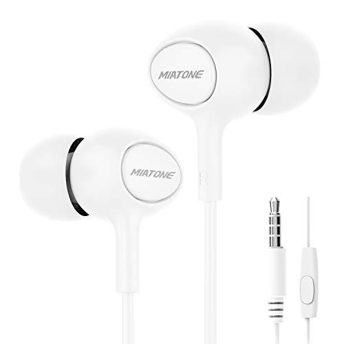 Earbuds/Earphones/Headphones, MIATONE Wired in- Ear Earbuds with Microphone, Dynamic Crystal Clear Sound Earphones, Ergonomic Comfort-Fit Ear Buds Headphones - Headphone Crystal