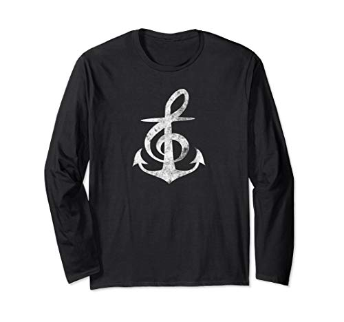 Music Anchors Me Long Sleeve Treble Clef Distressed Design ()