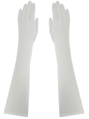Below Elbow Length 15-inch Stretchy Shinny Satin Dress Gloves - Wedding Below Gloves Elbow