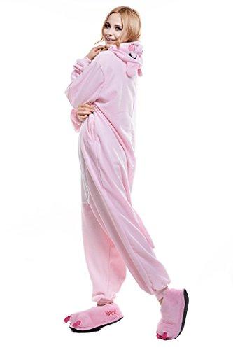 Adult Pink Onesie (NEWCOSPLAY Pink/Black Pig Costume Sleepsuit Adult Onesies Pajamas (L, Pink)