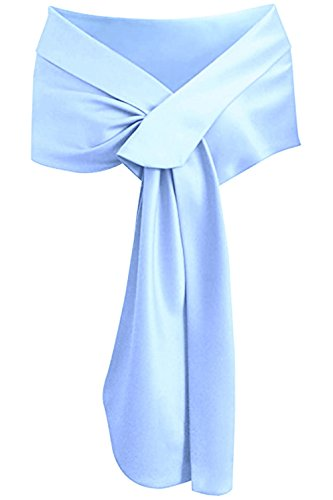 Meet Edge Women's Satin Shawl Wrap for Evening/Wedding Party Light Blue by Meet Edge