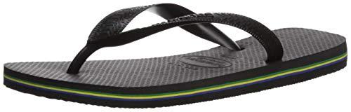 Havaianas Men's Flip Flop Sandals, Brazil Logo,Black,43/44 BR (11/12 M US) by Havaianas