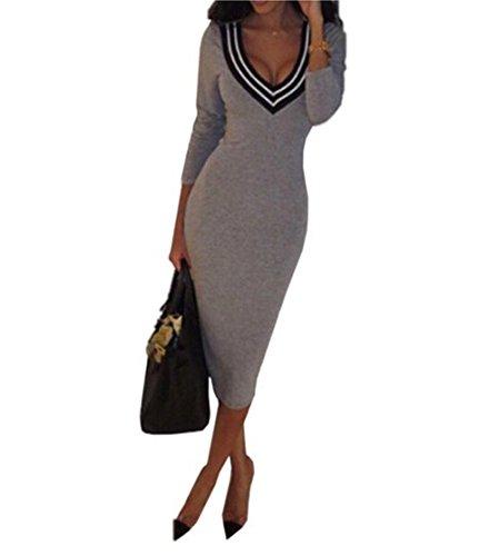 1508c9f1dbe1 Elegante Abbigliamento Collo Ragazza Vestito Manica Lunga Slim Dalla Autunno  Vernali Matita In Donne Dell'anca ...