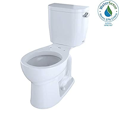 TOTO CST243EFR#01 Entrada Two-Piece Round 1.28 GPF Universal Height Toilet with Right-Hand Trip Lever, Cotton White