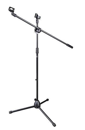 Bison Prosound (TM) Tripod Boom Mic Mount Mic Stand Microphone Floor Stand with Clips