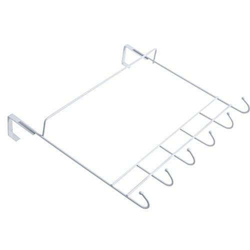 YX Wall Hook Hook - Door-Free Nail-Free Hanger Kitchen Bathroom Towel Hook European-Style Simple Wrought Iron Rack Coat Hook 6 Hooks (30 X 33mm) Boutique (Color : White) -