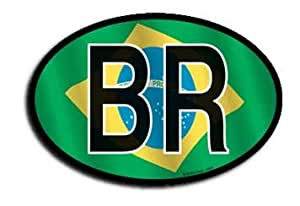 """Brazil - 3"""" x 4.5"""" Wavy Oval Decal"""