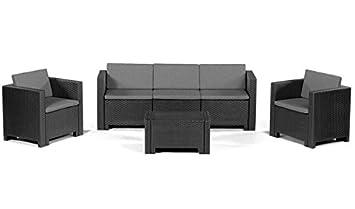 Conjunto sofas de terraza ACACIA, 1+1+3+mesa, poliratán ...