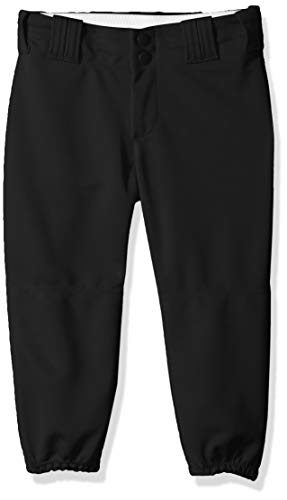 Alleson Athletic Girls Fast pitch Softball Belt Loop Pants, Black, Medium