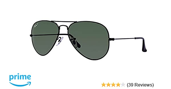 Amazon.com  Ray Ban RB3025 002 58 58M Black Polarized Green Aviator ... 1aad6e886944