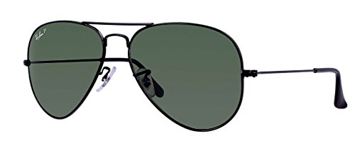 Ray Ban RB3025 002/58 58M Black/ Polarized Green - Ray Black Womens Aviators Ban