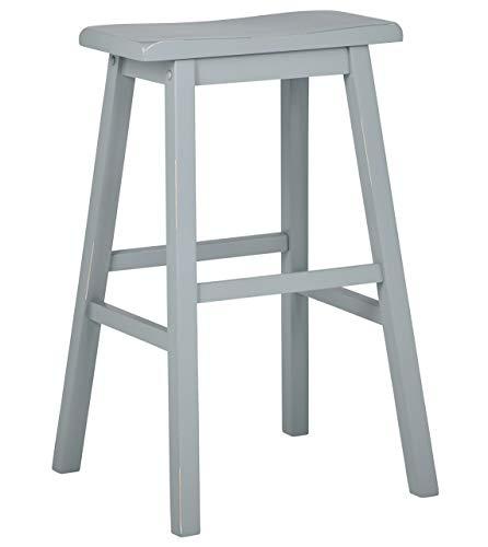 Stone & Beam Cottage Wood Saddle Kitchen Bar Counter Stool, 24 Inch Height, Blue