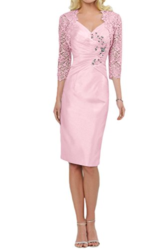 Pink Column (DressyMe Mother of Bride Dress with Jacket Sleeves Knee-Length Column-14-Pink)