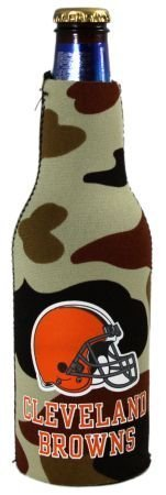 (CLEVELAND BROWNS CAMO BOTTLE SUIT KOOZIE COOZIE COOLER)