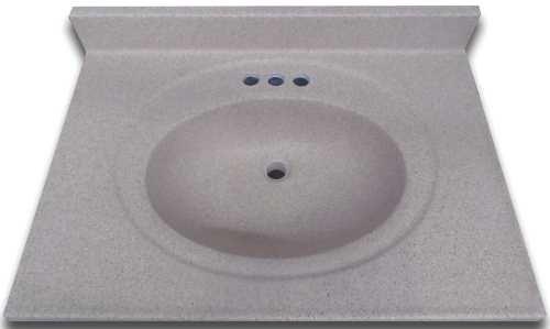 PREMIER BATHROOM VANITIES & CABINETS 2474663 Bathroom Vanity Top With Center Recessed Bowl, Cultured Granite, Sandy Beach Matte, 22X31'' by Premier