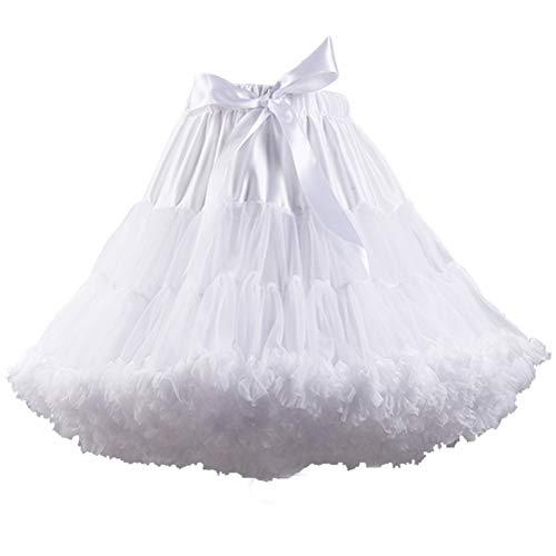 XinChangShangMao Women's Soft Chiffon Petticoat Tutu Skirt Lengthened White