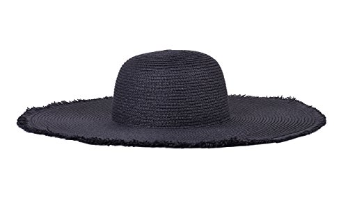 Floppy Straw Hat Summer Hats for Women Wide Brim Foldable Travel Caps Black