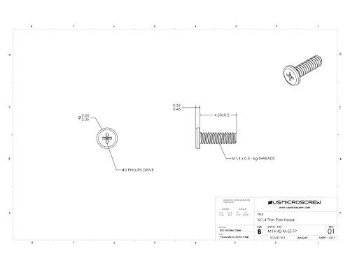 M1.4 - 0.30 X 4.5MM Machine Screw Stainless Steel Thin Pan Head Phillips Drive (100 Pcs) - M14-45-M-SS-TP (Head M14)