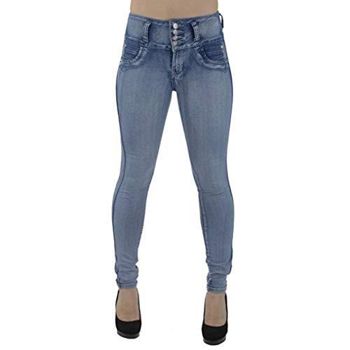 Wawer Pantalones Vaqueros para Mujer, Cintura Alta, Pantalones Vaqueros Ajustados de Vaquero Ajustados, Talla Grande, Pantalones Vaqueros para Primavera/Verano/otoño/Invierno azul claro