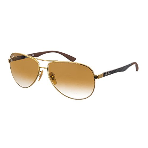 - Ray-Ban Men's RB8313 Aviator Carbon Fiber Sunglasses, Gold/Brown Gradient, 58 mm