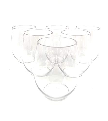 Plastic Bar Glasses Wholesale (48 piece Stemless Unbreakable Crystal Clear Plastic Wine Glasses Set of 48 (10)