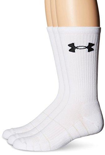 Under Armour Men's Elevated Performance Crew Socks (3 Pack), White, Medium